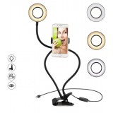 Lampa selfie LED cu suport telefon